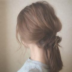 ヘアアレンジ デート ボブ ハーフアップ ヘアスタイルや髪型の写真・画像