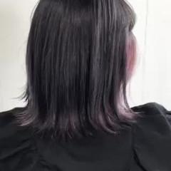 インナーカラー 透明感カラー ストリート ボブ ヘアスタイルや髪型の写真・画像