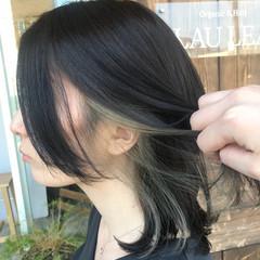 ミディアム 透明感 インナーカラーホワイト インナーカラー ヘアスタイルや髪型の写真・画像