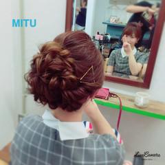 ねじり ヘアアレンジ アップスタイル セミロング ヘアスタイルや髪型の写真・画像