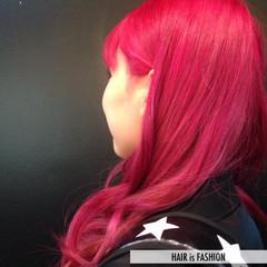 ガーリー レッド カラーバター ロング ヘアスタイルや髪型の写真・画像