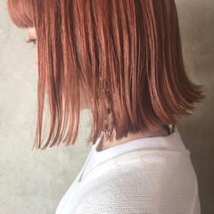 ボブ 切りっぱなしボブ オレンジベージュ アプリコットオレンジ ヘアスタイルや髪型の写真・画像
