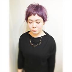 ショート パープル アッシュバイオレット マッシュ ヘアスタイルや髪型の写真・画像