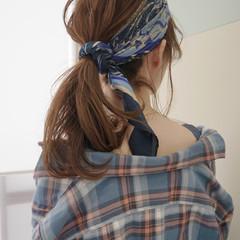 ナチュラル ヘアアレンジ ターバン セミロング ヘアスタイルや髪型の写真・画像