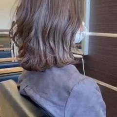 ミディアム 白髪染め 大人ヘアスタイル 外ハネボブ ヘアスタイルや髪型の写真・画像