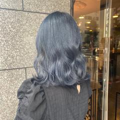 ブルーブラック ブルージュ ネイビーブルー ヨシンモリ ヘアスタイルや髪型の写真・画像