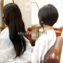 くせ毛 ショート ゆるふわ 暗髪 ヘアスタイルや髪型の写真・画像