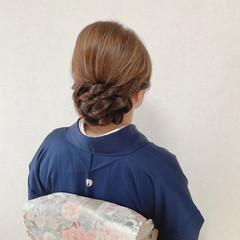 留袖 編み込み エレガント 結婚式ヘアアレンジ ヘアスタイルや髪型の写真・画像