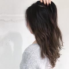 ハイライト グラデーションカラー セミロング 小顔 ヘアスタイルや髪型の写真・画像