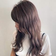 ミルクティーグレージュ セミロング ガーリー ミルクティーブラウン ヘアスタイルや髪型の写真・画像