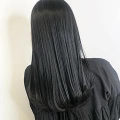 ロング ナチュラル ブルーブラック 暗髪 ヘアスタイルや髪型の写真・画像