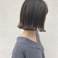 ロブ ハイライト 外ハネ 切りっぱなし ヘアスタイルや髪型の写真・画像