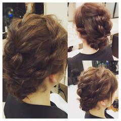 フェミニン セミロング 結婚式 まとめ髪 ヘアスタイルや髪型の写真・画像