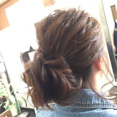 簡単ヘアアレンジ ミディアム ショート メッシーバン ヘアスタイルや髪型の写真・画像