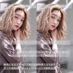 ミルクティーベージュ アンニュイほつれヘア ナチュラル セミロング ヘアスタイルや髪型の写真・画像