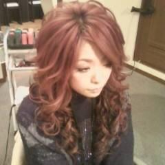 巻き髪 ヘアアレンジ ロング レッド ヘアスタイルや髪型の写真・画像