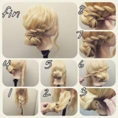 ロング ヘアアレンジ 簡単ヘアアレンジ モテ髪 ヘアスタイルや髪型の写真・画像
