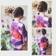 お祭り 花火大会 夏 編み込み ヘアスタイルや髪型の写真・画像