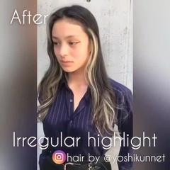 ハイライト ウェーブ グレージュ 外国人風 ヘアスタイルや髪型の写真・画像