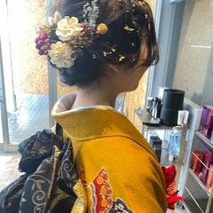ロング ナチュラル 成人式ヘア フィンガーウェーブ ヘアスタイルや髪型の写真・画像