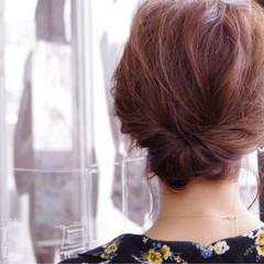 フェミニン ミディアム 結婚式 こなれ感 ヘアスタイルや髪型の写真・画像