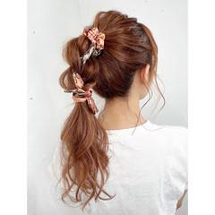 ポニーテールアレンジ ヘアアレンジ セルフアレンジ ナチュラル ヘアスタイルや髪型の写真・画像