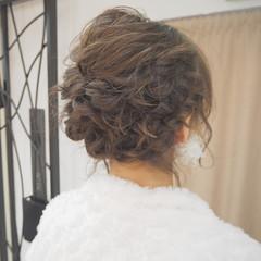 ナチュラル ヘアアレンジ 編み込み ボブ ヘアスタイルや髪型の写真・画像