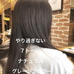 ラベンダーアッシュ アッシュベージュ ロング ナチュラル ヘアスタイルや髪型の写真・画像