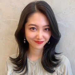 前髪なし 韓国ヘア レイヤー エレガント ヘアスタイルや髪型の写真・画像