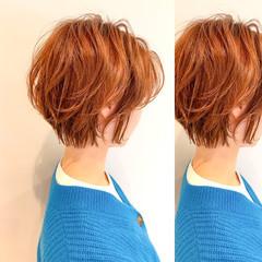 ナチュラル イルミナカラー ショートヘア ミニボブ ヘアスタイルや髪型の写真・画像