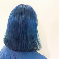ターコイズブルー モード ブルー ウルフカット ヘアスタイルや髪型の写真・画像