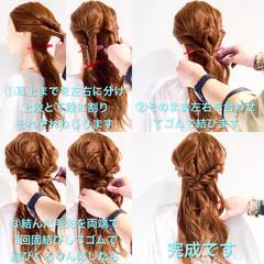 簡単ヘアアレンジ ロング フェミニン アウトドア ヘアスタイルや髪型の写真・画像