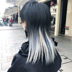 セミロング ブリーチ ブリーチオンカラー モード ヘアスタイルや髪型の写真・画像