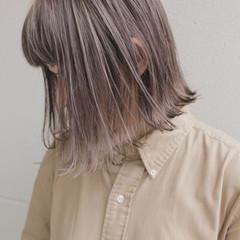 ミルクティー ボブ ナチュラル ミルクティーベージュ ヘアスタイルや髪型の写真・画像