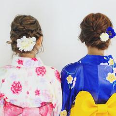 花火大会 デート 夏 セミロング ヘアスタイルや髪型の写真・画像
