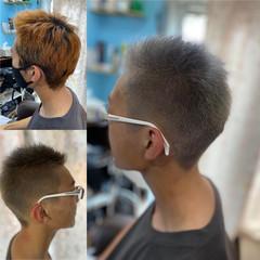 ブリーチオンカラー メンズカット ブリーチカラー ストリート ヘアスタイルや髪型の写真・画像