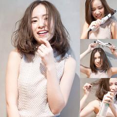 小顔 ミディアム パーマ ナチュラル ヘアスタイルや髪型の写真・画像