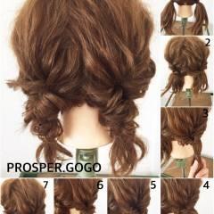 セルフヘアアレンジ ヘアアレンジ ナチュラル ショート ヘアスタイルや髪型の写真・画像