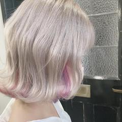 ガーリー インナーカラー ミニボブ ボブ ヘアスタイルや髪型の写真・画像