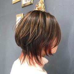 ナチュラル オレンジブラウン ハイライト インナーカラー ヘアスタイルや髪型の写真・画像
