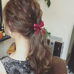 デート ポニーテール ロング ヘアアレンジ ヘアスタイルや髪型の写真・画像