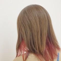 ミルクティーグレージュ 大人かわいい ピンク ショートボブ ヘアスタイルや髪型の写真・画像