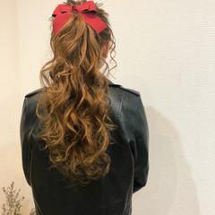ポニーテール ガーリー リボン ポニーテールアレンジ ヘアスタイルや髪型の写真・画像