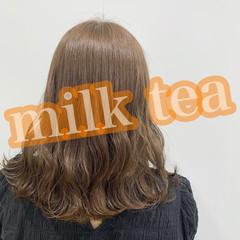 髪質改善トリートメント ミディアム ミルクティー ミルクティーベージュ ヘアスタイルや髪型の写真・画像