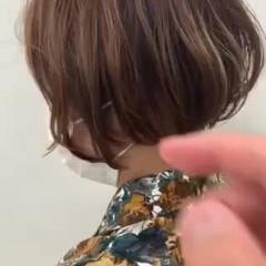 ミニボブ ナチュラル 簡単スタイリング 耳掛けショート ヘアスタイルや髪型の写真・画像