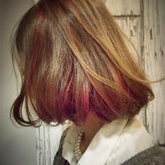 ストリート ハイライト ボブ ダブルカラー ヘアスタイルや髪型の写真・画像