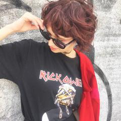 モード 前髪あり パーマ ブラウン ヘアスタイルや髪型の写真・画像
