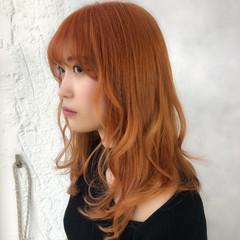 アプリコットオレンジ ダブルカラー オルチャン ナチュラル ヘアスタイルや髪型の写真・画像
