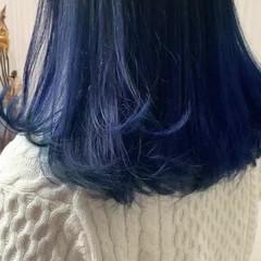 ブリーチ 外国人風 ブルー ミディアム ヘアスタイルや髪型の写真・画像