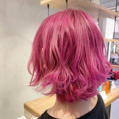 ピンク ボブ ラズベリーピンク ベリーピンク ヘアスタイルや髪型の写真・画像